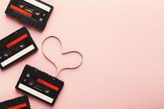 Tappningkassett med det magnetiska bandet i form av hjärta Royaltyfri Foto