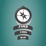 Tappningkompasslogo med motivationtext Royaltyfri Bild