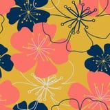 Tappningkorall som är mörk - blåa guld- blommor Sjaskiga chic purpurfärgade millefleurs Enkel gullig sömlös modell för tapet vektor illustrationer