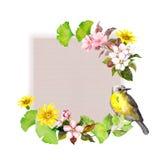 Tappningkort - blommor och fågeln för mode planlägger mörk paper vattenfärgyellow för forntida bakgrund Arkivbild