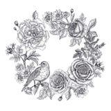 Tappningkort med blommor och en fågel royaltyfri illustrationer