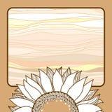 Tappningkort med den beigea solrosen för din design Stock Illustrationer