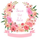 Tappningkort med den blom- kransen. Spara datumet. Arkivfoton
