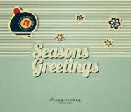 Tappningkort med den julbollar och snowflaken Arkivfoton