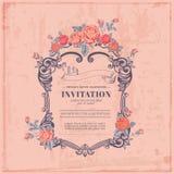 Tappningkort - med den Retro ramen och blommor vektor illustrationer