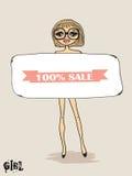 Tappningkort med det nakna flickaholdingbanret Royaltyfri Bild