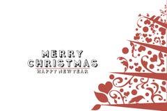 Tappningkort med julgranen på vit bakgrund Arkivbild