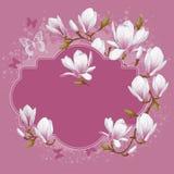 Tappningkort med magnolian vektor illustrationer