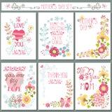 Tappningkortuppsättning med den blom- dekoren dagblomman ger mödrar mumsonen till Royaltyfri Bild