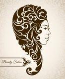 Tappningkvinnakontur med dekorativt långt hår stock illustrationer