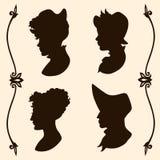 Tappningkvinnakonturer royaltyfri illustrationer