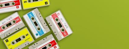 Tappningljudkassetter på ljust - grön bakgrund, baner, kopieringsutrymme illustration 3d Stock Illustrationer