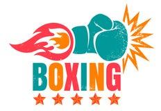 Tappninglogo för att boxas stock illustrationer