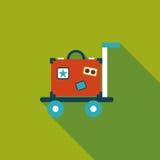 Tappningloppresväskor, plan symbol med lång skugga Arkivfoton