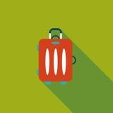 Tappningloppresväskor, plan symbol med lång skugga Arkivbild