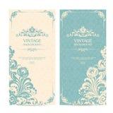 Tappningmalluppsättning med dekorativa ramar och mönstrad bakgrund Elegant snöra åt bröllopinbjudan, hälsningkortet, baner vektor illustrationer
