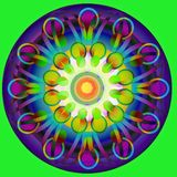 TAPPNINGMANDALAEN, GEOMETRICS FORMAR, CIRKLAR I BLÅ, GUL, ORANGE LJUS - den gröna GULA MITTEN som ÄR PLAN TÄNDER - grön BAKG royaltyfri illustrationer