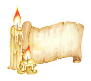 Tappningmanuskriptsnirkel, brännande stearinljus för flygillustration för näbb dekorativ bild dess paper stycksvalavattenfärg Royaltyfri Bild
