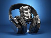 Tappningmikrofon och hörlurar på blå bakgrund Begreppsau royaltyfri illustrationer