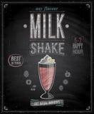 Tappningmilkshakeaffisch - svart tavla. stock illustrationer