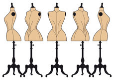 Tappningmodeskyltdockor, vektoruppsättning royaltyfri illustrationer