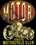 Tappningmotorcykel Hand dragen grungetappningillustration med Royaltyfri Fotografi