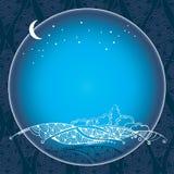 Tappningnattlandskap i den runda ramen Stock Illustrationer