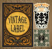 Tappningobjekt: etikett Art Nouveau arkivbild