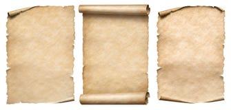 Tappningpapper eller pergament ställde in isolerat på vit arkivbild