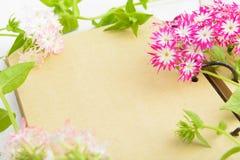 Tappningpapper och blommaram med kopieringsutrymme Royaltyfria Bilder