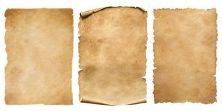 Tappningpappers- eller pergamentark ställde in isolerat på vit royaltyfri fotografi