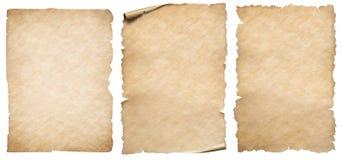 Tappningpappers- eller pergamentuppsättning som isoleras på vit royaltyfria bilder