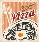 Tappningpizzaaffisch på gammal pappers- textur Royaltyfri Bild