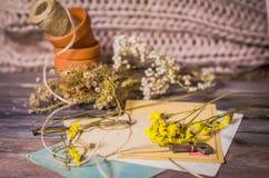 Tappningplats av gamla vykort, torkade blommor, antika exponeringsglas Royaltyfria Bilder