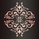 Tappningprydnad red för guld för ram för bakgrundsfärg mörk dekorativ En rik modell Blommor och lämnar royaltyfri illustrationer
