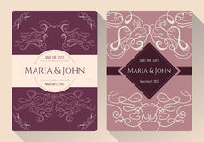 Tappningräddning samlingen för datum- eller bröllopinbjudankort med calligraphic dekorativa beståndsdelar royaltyfri illustrationer