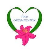 Tappningram i form av hjärta med en lilja Royaltyfria Foton