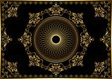 Tappningram med den guld- lyxiga prydnaden på svart bakgrund Arkivbilder