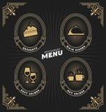 Tappningram och etikett för restaurangmeny vektor illustrationer