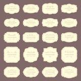 Tappningrametiketter Rektangel- och ovalbröllopramar Antik etikett med gränsvektoruppsättningen royaltyfri illustrationer