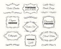 Tappningramuppsättning Utsmyckade ramar och snirkelbeståndsdelar Calligraphic sidaavdelare vektor illustrationer
