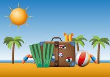 Tappningresväska med skraj klistermärkear på en strand royaltyfri illustrationer