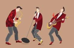 Tappningrockband i tecknad filmstil Arkivbild