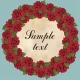 Tappningrundaram av rosblomman, blommagirland Krans av röda blommaknoppar, sidor och etiketten för text, blå bakgrund illus Fotografering för Bildbyråer