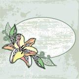 Tappningrundaram med liljor på ett ljus - grön bakgrund Stock Illustrationer