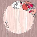 Tappningrundaram med röda vallmo Stock Illustrationer