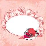 Tappningrundaram med vallmo på en rosa bakgrund Vektor Illustrationer