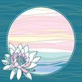 Tappningrundaram med waterlilies på en turkosbakgrund Royaltyfri Illustrationer