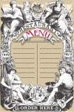 Tappningsida för restaurangmeny Arkivbild