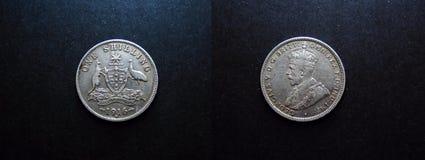 tappningsilvermynt 1916 för shilling 0ne Fotografering för Bildbyråer